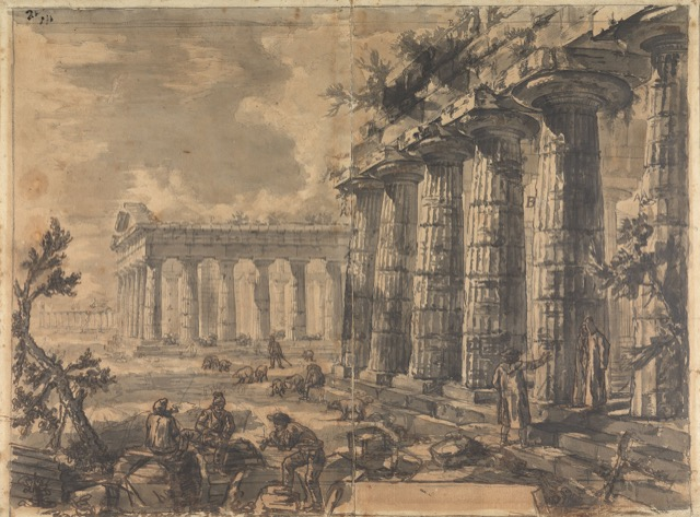 Study for plate III of the Différents vues de Pesto: A view of the Basilica, the Temple of Neptune, and the Temple of Ceres, looking north, ca. 1777-78, rendered in black chalk and wash with pen and brown ink on paper.