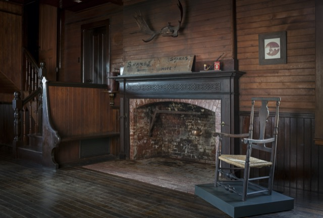 Looking toward the fireplace in Winslow Homer's studio. Image courtesy the Portland Museum of Art.
