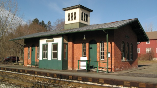 The Amherst train station that opened in 1853. Image courtesy WikiMedia and Tom Walsh.