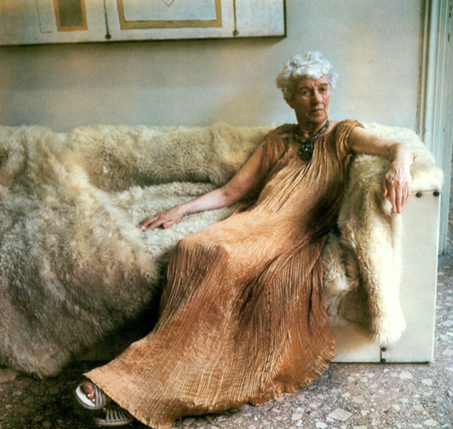 Peggy Guggenheim at 81 in her palazzo in July 1979. Image: Marie Cosindas.