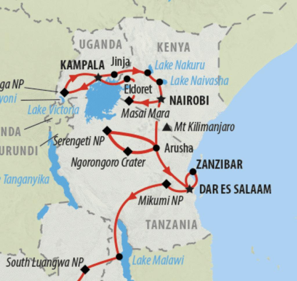 path through Africa on safari