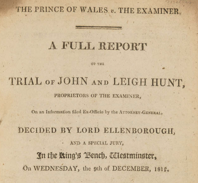 A published report of the trial of John and Leigh Hunt. Image public domain.