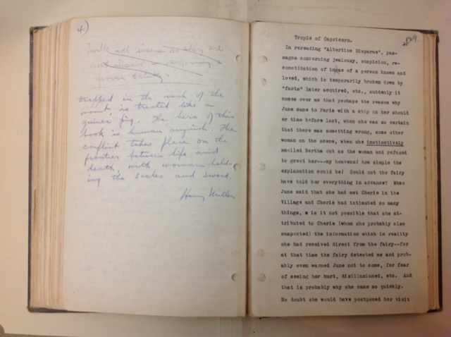 A page from one of his Paris diaries with a typed excerpt from the Tropic of Capricorn.