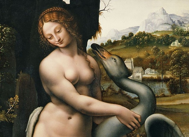 "A detail from Francesco Melzi's ""Leda and the Swan"" housed in the Uffizi Gallery."