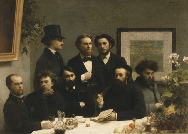 Henri Fantin-Latour's By the Table: the three standing are from left to right: Elzéar Bonnier, Emile Blémont and Jean Aicard. The five seated are: Paul Verlaine, Arthur Rimbaud, Léon Valade, Ernest d'Hervilly and Camille Pelletan.