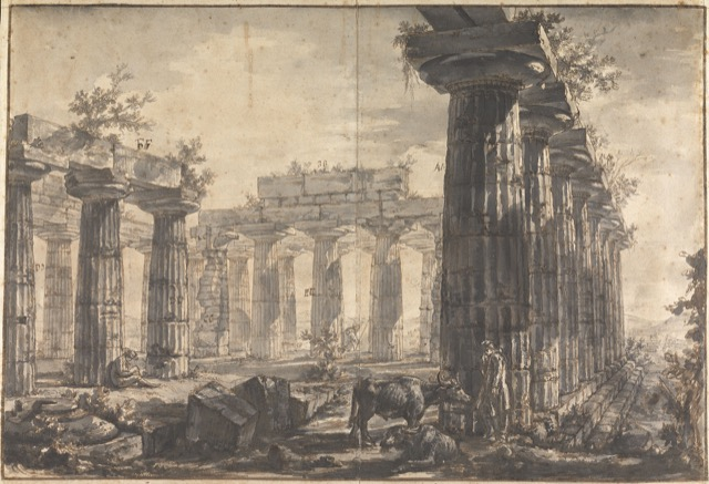 View of the Interior of the Basilica, Looking East (Study for plate VII of the Différentes vues de Pesto), ca. 1777-78. Pen and brown ink and wash over black chalk on paper.