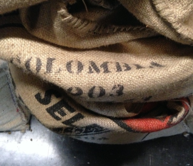 Burlap sacks that held Java coffee beans at the Black Cow Coffee Company in Croton-on-Hudson. Image © Saxon Henry.