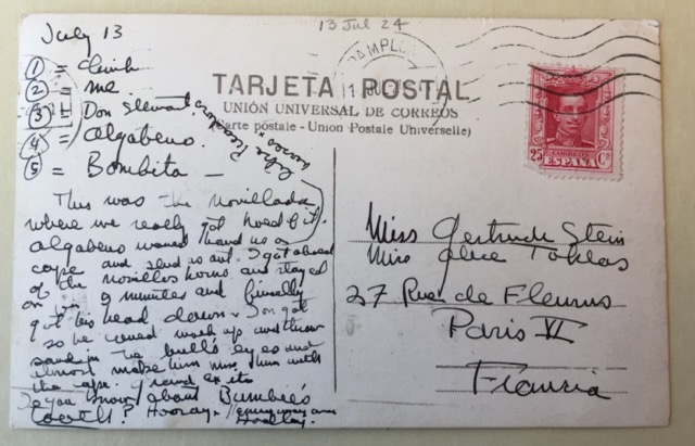 The back of the postcard Hemingway sent to Gertrude Stein from Spain. Image © Saxon Henry.