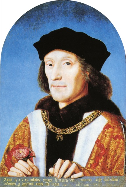 This portrait of Henry VII was painted on October 29, 1505, by order of Herman Rinck, an agent for the Holy Roman Emperor, Maximilian I. Courtesy WikiMedia and the National Portrait Gallery.