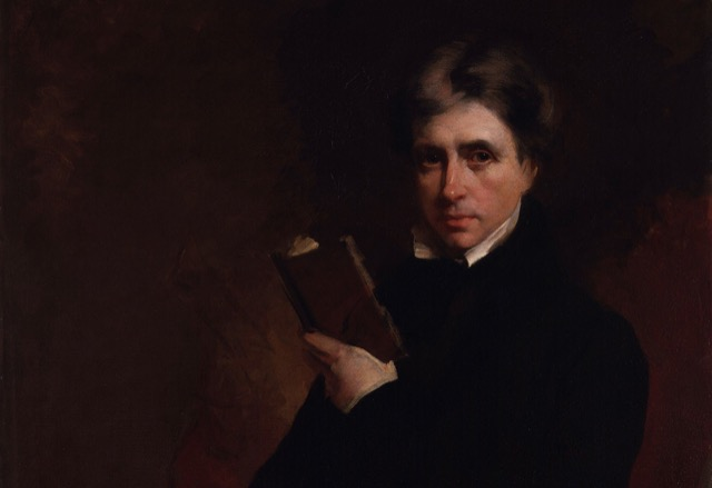 Leigh Hunt reading a book, a detail of a painting of the publisher by Samuel Laurence. Image courtesy WikiMedia.