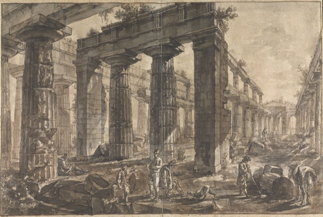 Interior of the Temple of Neptune, Looking Northeast (Study for plate XII of the Différentes vues de Pesto), ca. 1777-78. Pen and brown ink and wash over black chalk on paper.