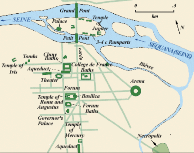 This map of Paris (Lutetia) during the Roman rule. Map courtesy Barry Lawrence Ruderman of Antique Maps, Inc.