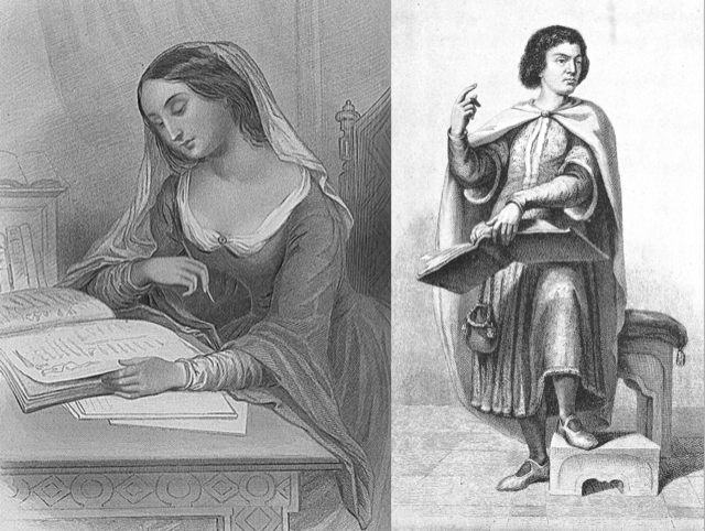 Héloïse and Abélard imagined in sketches during the time of their calamities.