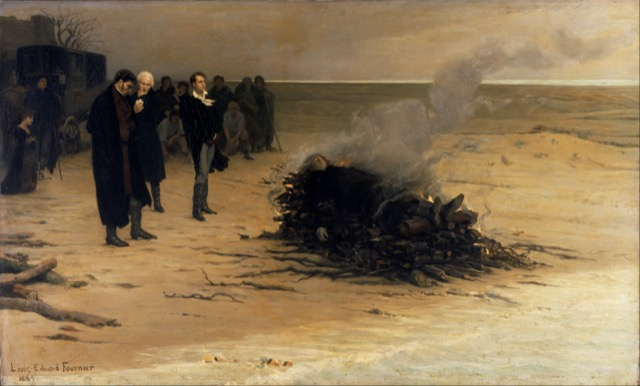 """The Funeral of Shelley"" by Louis Édouard Fournier (1889); pictured in the centre are, from left, Trelawny, Hunt, and Byron."