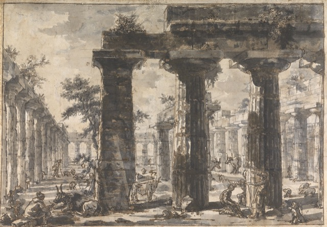 Study for plate VI of the Différents vues de Pesto: A view of the Interior of the Basilica looking west, ca. 1777-78, rendered in black chalk and wash with pen and brown ink on paper.