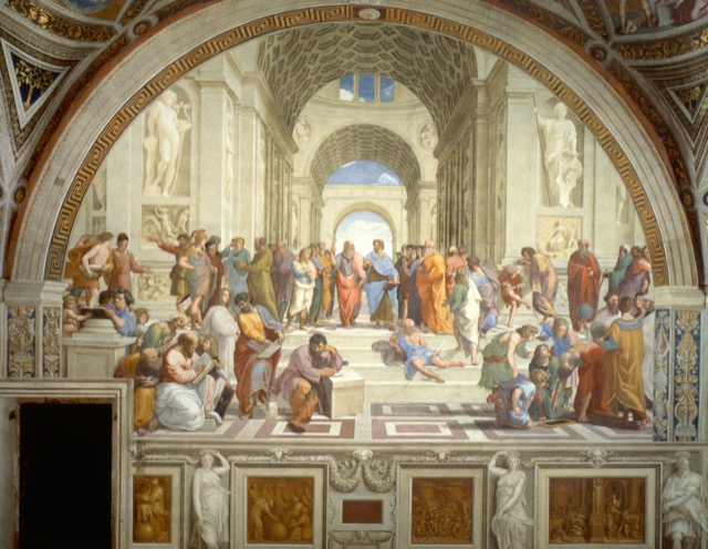 When Pope Julius II commissioned Raphael to paint his personal library, one of the four frescoes he completed, The School of Athens, includes Michelangelo leaning on a makeshift table writing poetry. Image courtesy WikiMedia.