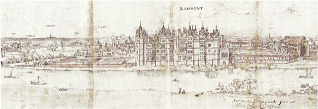 Richmond Palace from the southwest by Wyngaerde. Image courtesy of WikiMedia and Ashmolean Museum.