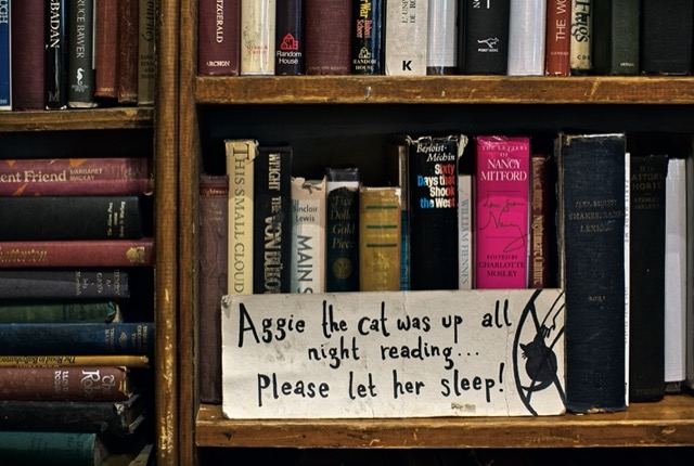 I love this sign from the interior of Shakespeare and Company in Paris. Notice the serendipity of this shot – Nancy Mitford's letters are shelved behind the sign! Image © Horst A. Friedrichs.
