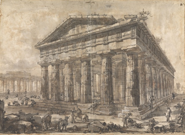 Study for plate X of the Différents vues de Pesto: A view of the Temple of Neptune looking southwest, ca. 1777-78, rendered in pen and brown ink and wash over black chalk, and red chalk, heightened with white on paper.
