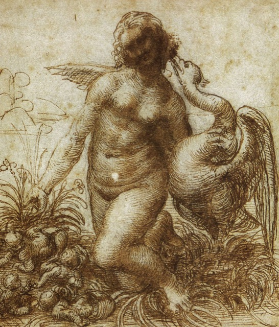 Leonardo also created this sketch, a study for a kneeling Leda, in 1503-07, which was not on view at the exhibition. Image courtesy WGA and Museum Boijmans Van Beuningen, Rotterdam.