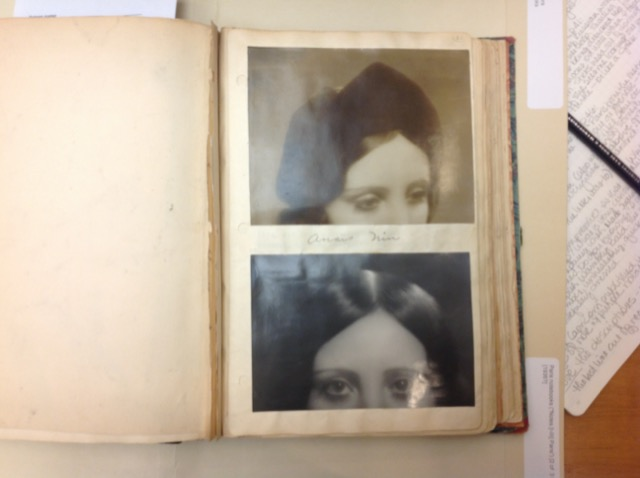 Two images of Anais Nin's eyes pasted into Henry Miller's Paris diaries. Image © Saxon Henry.