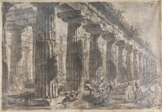 Study for plate XI of the Différents vues de Pesto: A view of the Temple of Neptune looking northeast, ca. 1777-78, rendered in pen and brown ink and wash over black chalk on paper.