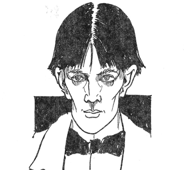 This detail of Aubrey Beardsley's self-portrait in pen and ink wash, an early drawing, is foretelling of his mood once his ability to make a living was hampered by repression. Image courtesy The British Museum.