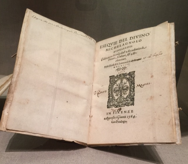 Eseqvie del Divino Michelangelo was one of four books produced to celebrate the life of Michelangelo at the time of his death. Image © Saxon Henry.