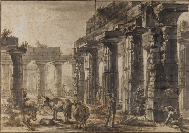 Study for plate VIII of the Différents vues de Pesto: A view of the Interior of the Basilica looking northeast, ca. 1777-78, rendered in pen and brown ink and wash over black chalk with red chalk on paper.