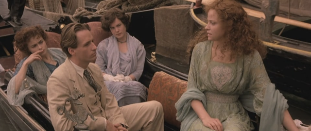 """Helena Bonham Carter, Elizabeth McGovern, Linus Roache, and Alison Elliott in a gondola in Venice filming """"The Wings of the Dove"""" written by Henry James, who had no idea how successful he would become as a novelist."""
