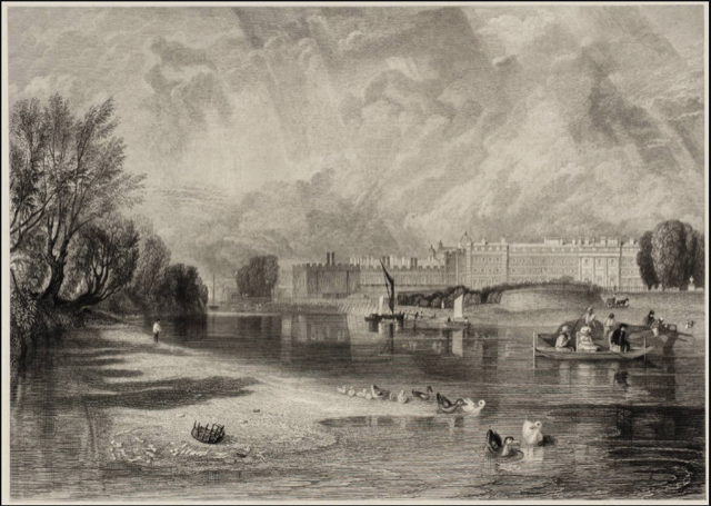 "After Joseph Mallord William Turner ""Hampton Court Palace,"" a drawing thought to date back to 1829 showing the architecture then. Image courtesy the Tate."