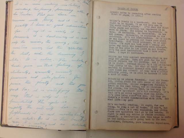 Notes by Lowenfels after reading the first 50 pages of Tropic of Cancer in 1931 pasted into the Paris diaries of Henry Miller. Image © Saxon Henry.