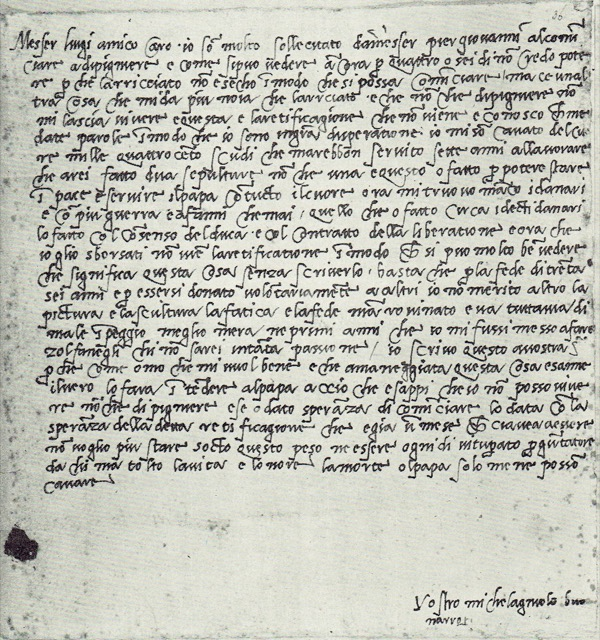 A letter Michelangelo wrote to Messer Luigi del Riccio is one of many letters he wrote that have survived. Image courtesy the British Museum.