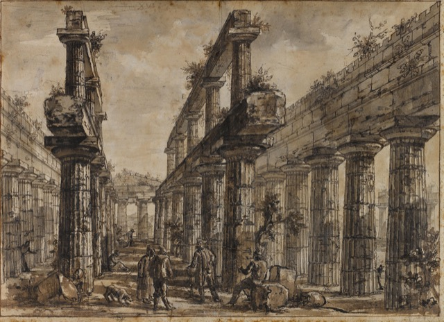 Interior of the Temple of Neptune, Looking East (Study for plate XVI of the Différentes vues de Pesto), ca. 1777-78. Pen and brown ink and wash over black chalk on paper.