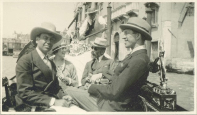 A bearded Bernard Berenson (back right) in a gondola in Venice with Cole Porter, Howard Sturges, and Linda Lee Thomas in 1923. Berenson was truly a passionate sightseer.
