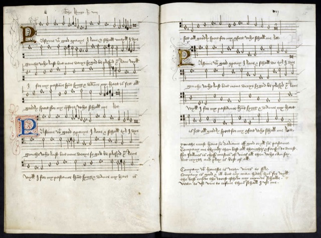 """Pastyme With Good Companye"" is a song from the manuscript dubbed the ""Henry VII Songbook."" The verses are chivalry personified. Image courtesy the British Library."