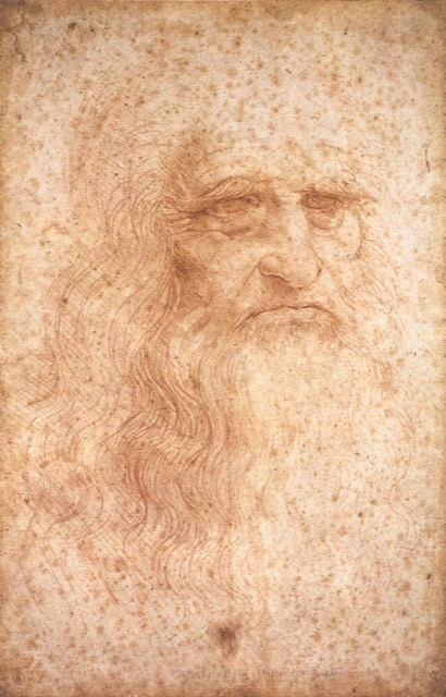 This is a presumed self-portrait of Leonardo that appears in Del Cenacolo di Leonardo da Vinci by Giuseppe Bossi, published in 1810. Image courtesy WikiMedia.