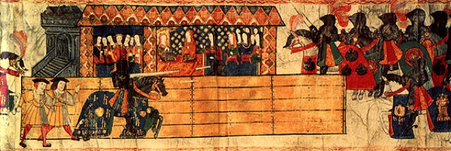 Catherine of Aragon watching Henry VIII jousting in her honor after giving birth to a son. Henry's horse mantle is emblazoned with Catherine's initial letter, 'K' - the epitome of chivalry.