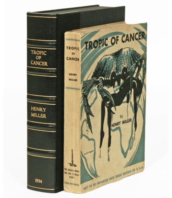 """The cover of the first edition paperback of """"Tropic of Cancer,"""" which has a disclaimer at the bottom: """"Not to be Imported into Great Britain or U.S.A."""" Image courtesy of The Manhattan Rare Book Company."""