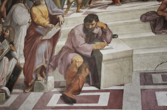 "A detail of Raphael's fresco ""The School of Athens"" that includes Michelangelo leaning on a makeshift table writing poetry."