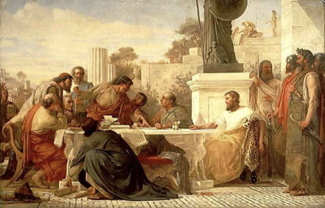 Julian the Apostate presiding at a conference of sectarians, by Edward Armitage, 1875.