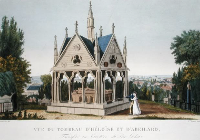 A painting of the tomb of Héloïse and Abélard, circa 1814, as it looked when it was first put in place at Père Lachaise Cemetery.