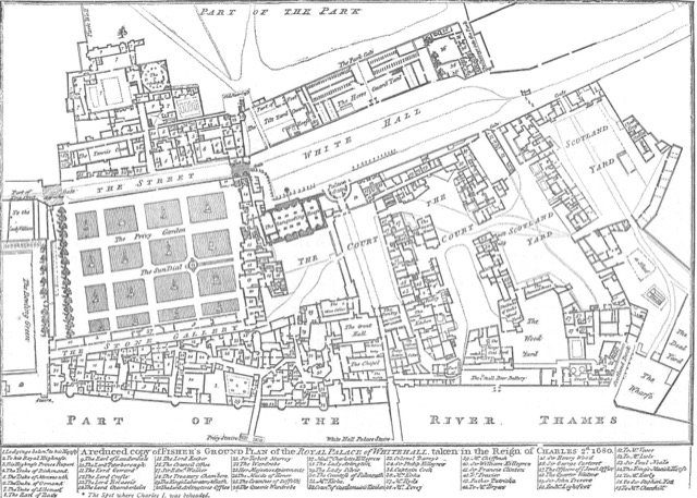 In this plan of Whitehall Palace from 1680, the tiltyard is much less visible due to the growth of the royal complex around it when chivalry ruled.