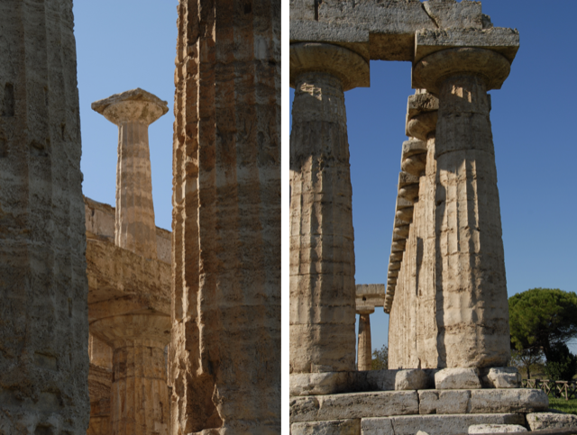 Two views of the temples at Paestum in 2006.