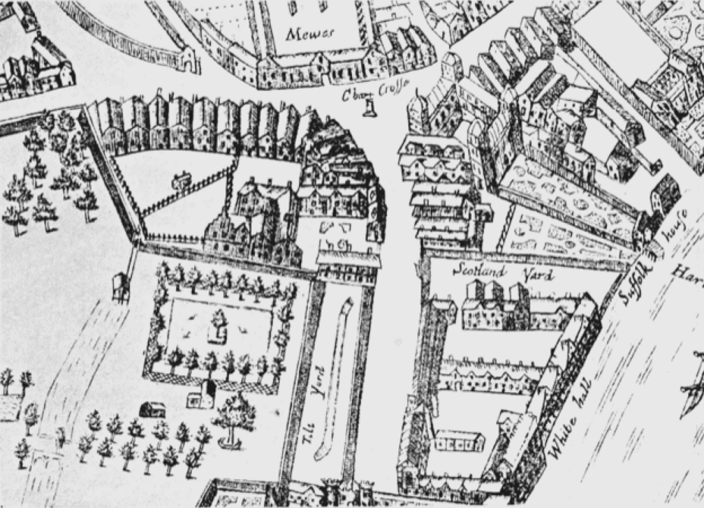 An earlier plan of the architecture of Whitehall distinctly shows the Tiltyard where the chivalry unfolded. Image courtesy of British History Online.