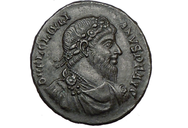 A portrait of the pagan Julian the Apostate on a bronze coin minted in Antioch between 360 and 363.