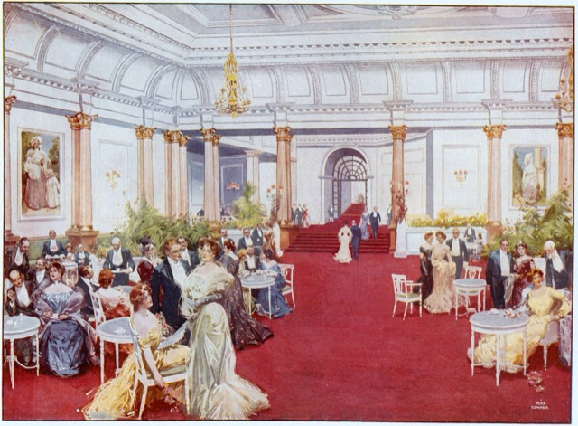 The grand foyer of the Savoy Hotel in 1900 by Max Cowper. Image courtesy WikiMedia.