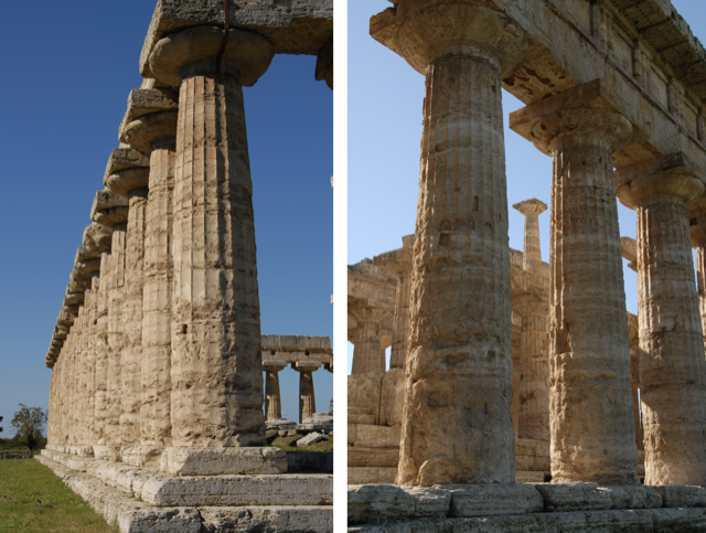 Paestum in 2006 with bright sunlight striking the ancient columns.