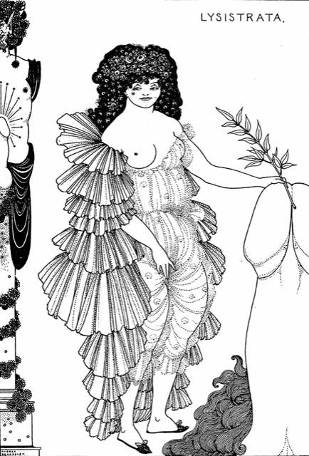 An illustration Aubrey Beardsley drew for a publication of Lysistrata. Image courtesy WikiMedia.