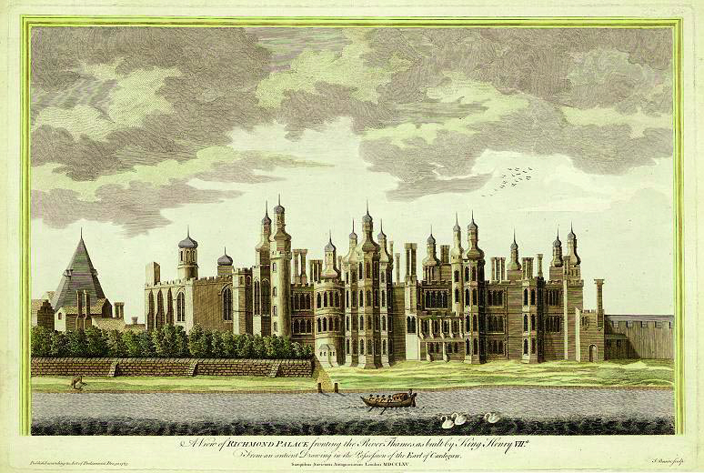 "Richmond Palace from the southwest, an engraving by James Basire created in 1765 ""based on an ancient drawing."" Image courtesy WikiMedia"